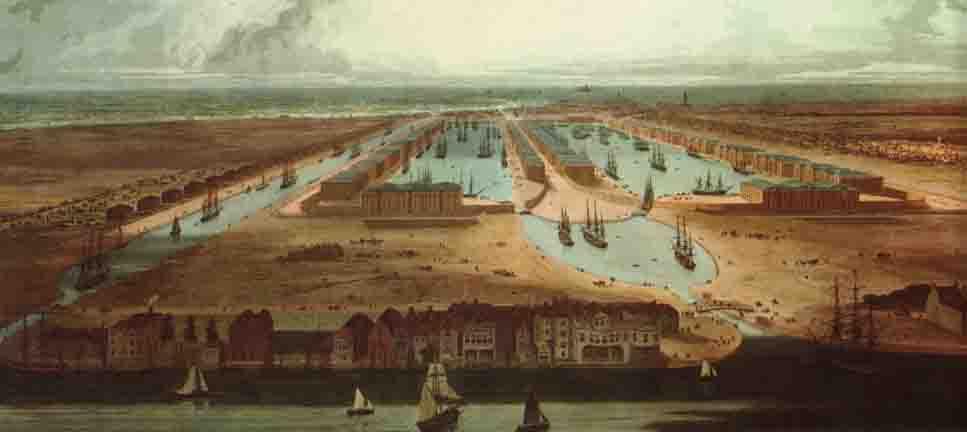The City Canal  i London. Transportcenter for Englands handel med Indien.